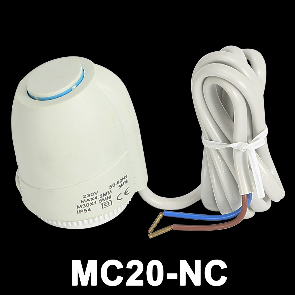MC20-NC Normally Closed Electric Thermal Actuator For Thermostatic Valve In Electric Underfloor Heating Manifold System AC230V 24v normally open normally close electric thermal actuator for room temperature control three way valve dn15 dn25