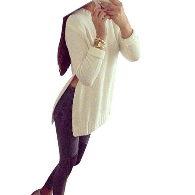 Cardigan Mujeres Suéter de Gran tamaño Suéter Sólido de Manga Larga de Punto Blanco de Estilo Coreano 2016 Otoño Invierno Jumper Blusas