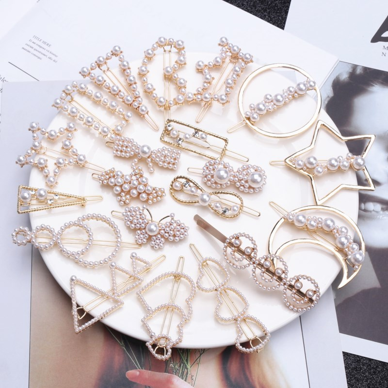 Hair-Clips Barrettes Hair-Styling-Accessories Rhinestones Crystal Pearl Star Round-Shape