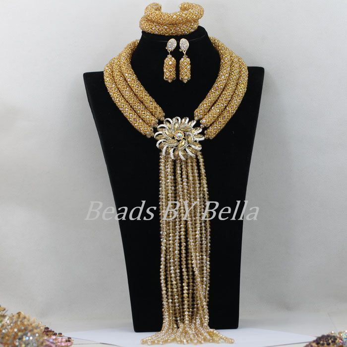 Exclusive Nigerian Wedding African Beads Jewelry Set Bridal Lace Jewlery Gold Crystal Beads Women Necklace Free Shipping ABF473