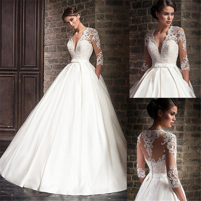 Satin Deep V-Neck A-Line Wedding Dresses With Lace Appliques Half Sleeves Bridal Dress With Pocket Vestido De Noiva