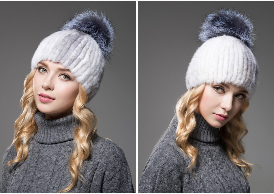 mink fur winter hats for women PCM010 (11)