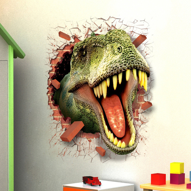 Dinosaurs Wall Stickers For Kids Rooms Boy Room Decoration 3d Window Effect Wall  Decals Poster Wall