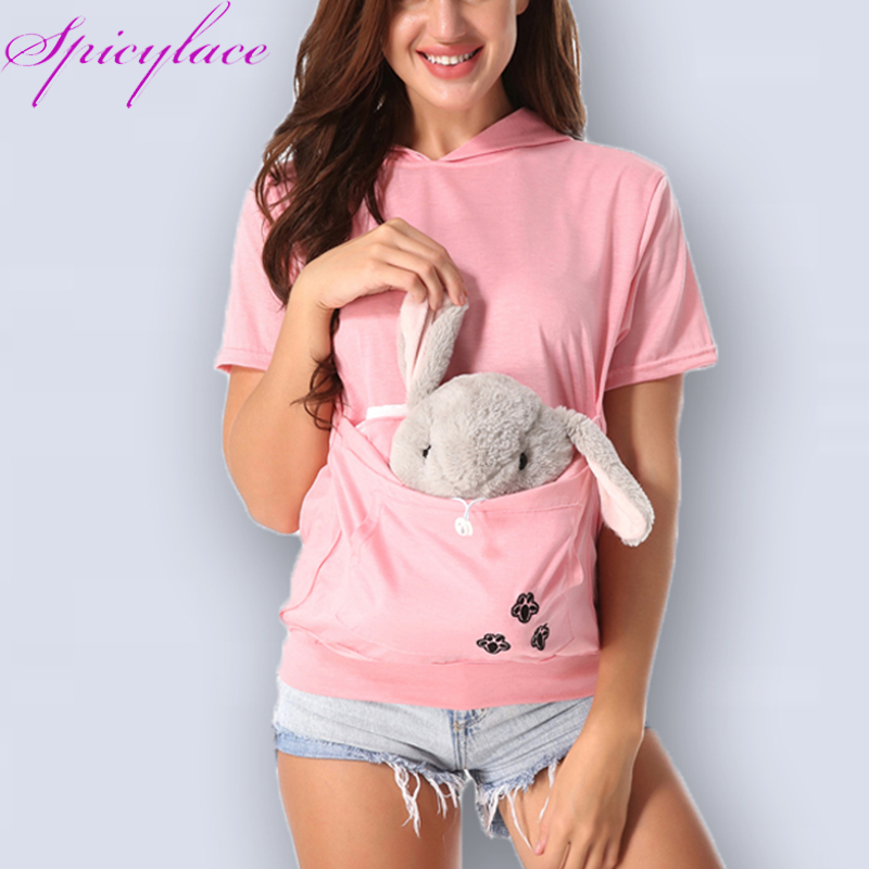 Cat Pet Lovers Hoodies With Cuddle Pouch Dog Pet- ի կարճ թև կենգուրու Pullovers Hooded With Ears Sweatshirt գումարած Չափ Drop Ship