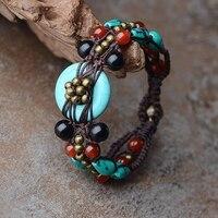 2016 Fashion Vintage Ethnic Turquoise Natural Stone Handmade Craft Jewelry Wrap Charm Femme Bracelet Bangle For