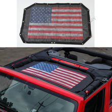 2/4 Door Polyester Roof Mesh Bikini Top Cover USA Flag/ Canada Flag UV Sun Shade Mesh For Jeep Wrangler 2007-2016 Car Styling(China)