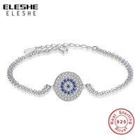 ELESHE Authentic 925 Sterling Silver Rotonda D'avanguardia Occhi Azzurri Sereno CZ Bracciali Tennis per Le Donne Gioielli
