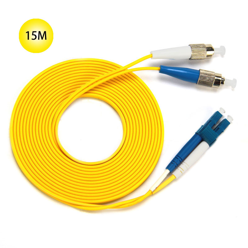 FC to LC 9/125 Singlemode Duplex Fiber Patch Cable 15M Jumper Cable 9 Microns UPC Polish Yellow OFNR Jacket For Long Distances