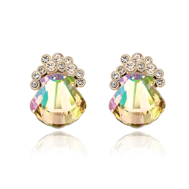 Fashion Jewelry for Woman Shell Crystal Stud Earrings Made with Swarovski Element Romantic Charm Lady Office Earrings Jewellery