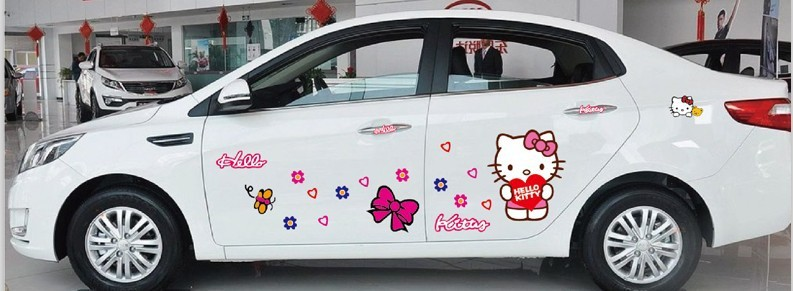 cartoon pink hello kitty wall stickers for car door window decorations home decor wall art for