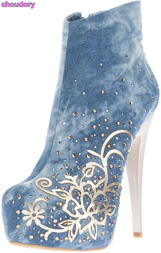 Hot Selling Women Blue Denim Ankle Boots Metallic Cut out Flowers Short Boots Bling Bling Crystal Embroidered Dress Boots