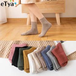 ETya для женщин модные короткие носки японский сплошной цвет школьников женский хлопок повседневное носки для осень зим