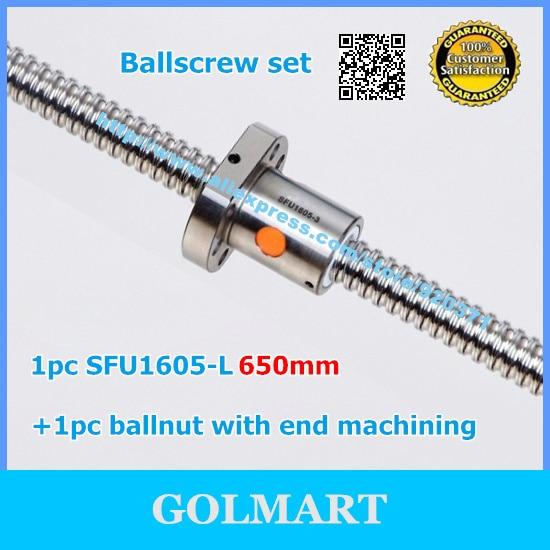 3 ballscrews 1605-650mm-C7 with 3 Ballnuts for CNC router ballscrew