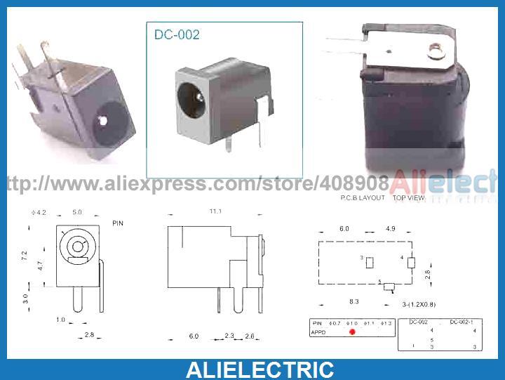 500 pièces 3pin 4mm x 1.0mm DC prise Jack femelle PCB chargeur prise de puissance à souder