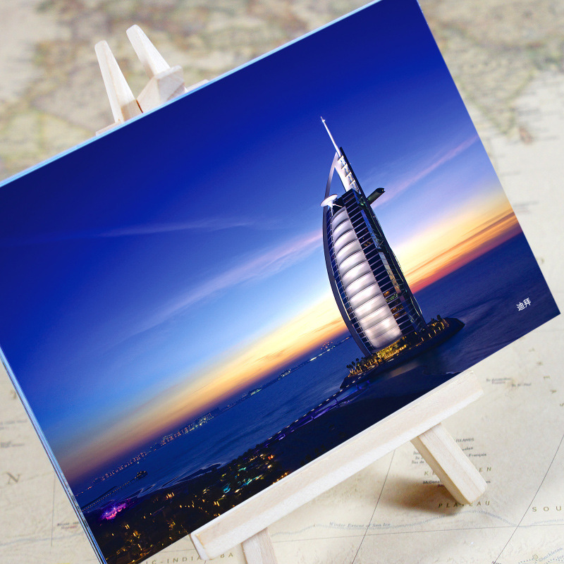 6pcs/set charming City Series Office & School Supplies Dubai Urban Landscape Postcard /greeting Card/birthday Card/christmas Gifts Non-Ironing