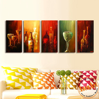 2016 New 5 Piece Abstract Handpainted Wine Bottle Oil Painting Modern Abstract Canvas Wall Pictures Decoration Sets No Frame
