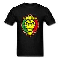 חולצות T גברים הומור האריה ראסטה רגאיי Lion Homem O-צוואר מודפס בגדי חולצה גברים שרוול הקצר טי