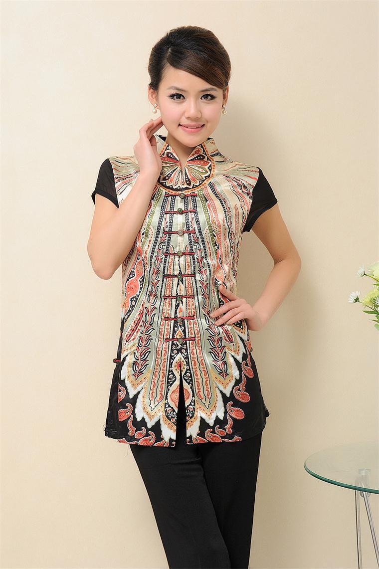 Envío libre summber moda tradición china de las mujeres clothing seda blusas tap
