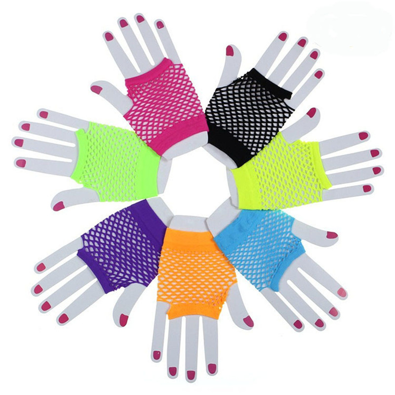 Punk Goth Women Summer Candy Colors Net Gloves Without Fingers Lady Disco Dance Costume Lace Fingerless Mesh Fishnet Gloves