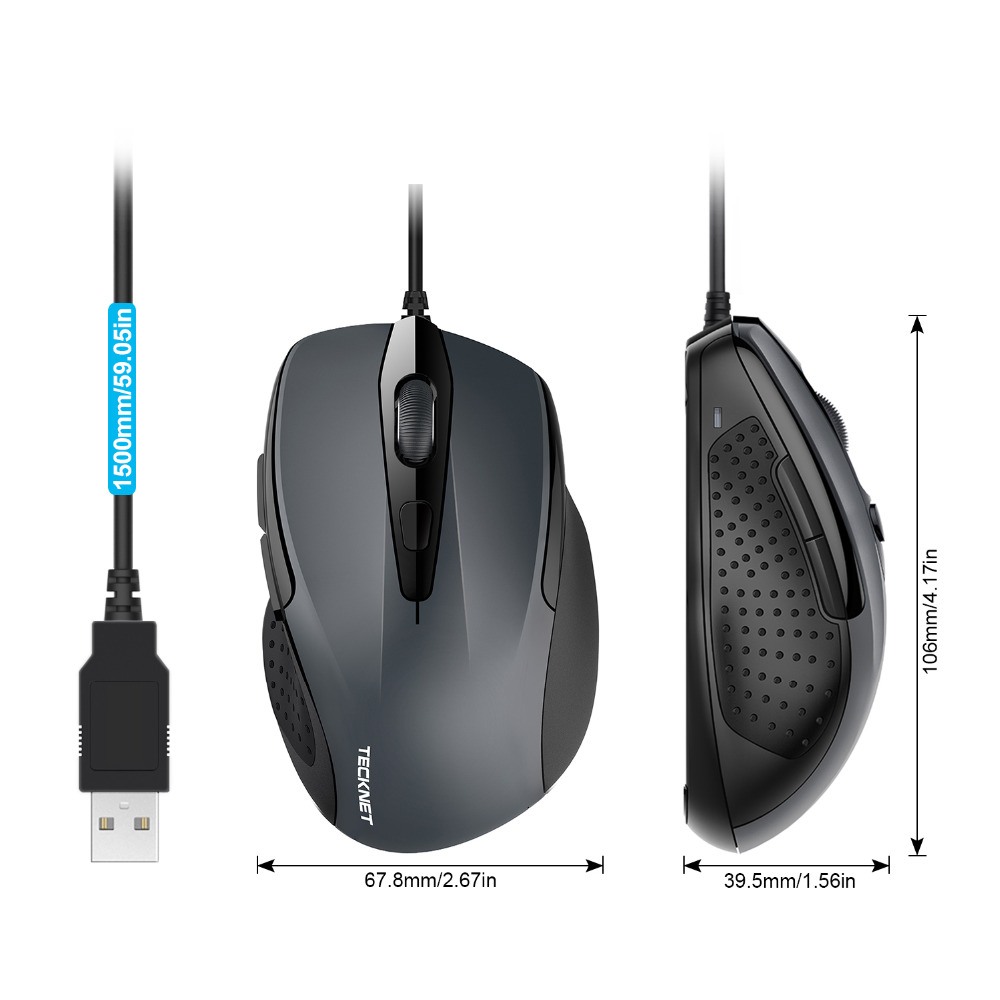 TeckNet Mouse Pro S2 High Performance USB Wired Mouse 6 Buttons 2000DPI Gamer Computer Mouse Ergonomic