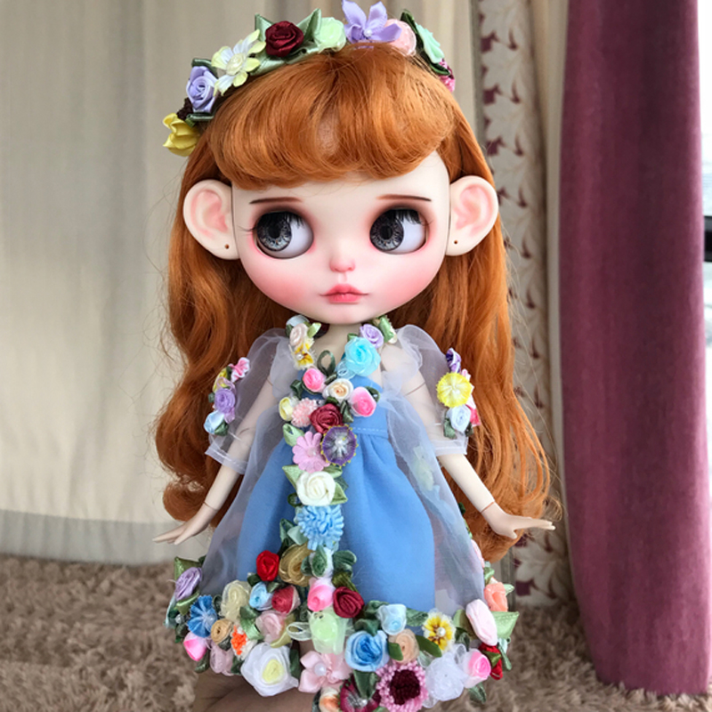 Handmade 1 6 Doll s Flower Fairy Headband Dress Set for Blyth Licca Azone Doll Clothes