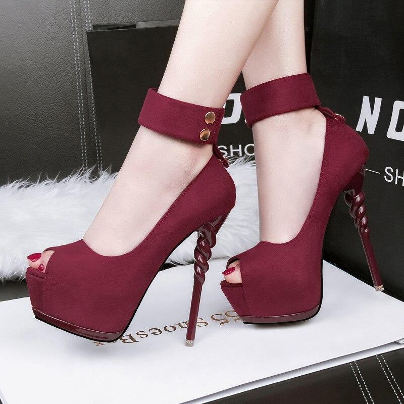 Women's Pumps Shoes Autumn Button Thick Platform Party Shoes Flock Peep Toe Thin Heel Super High Heels 14CM Ladies Wedding Shoes
