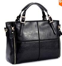 Tas kulit asli nyata, Wanita tas wanita, Perancang busana kain perca merek berkualitas tinggi wanita kantor utusan bahu 2015