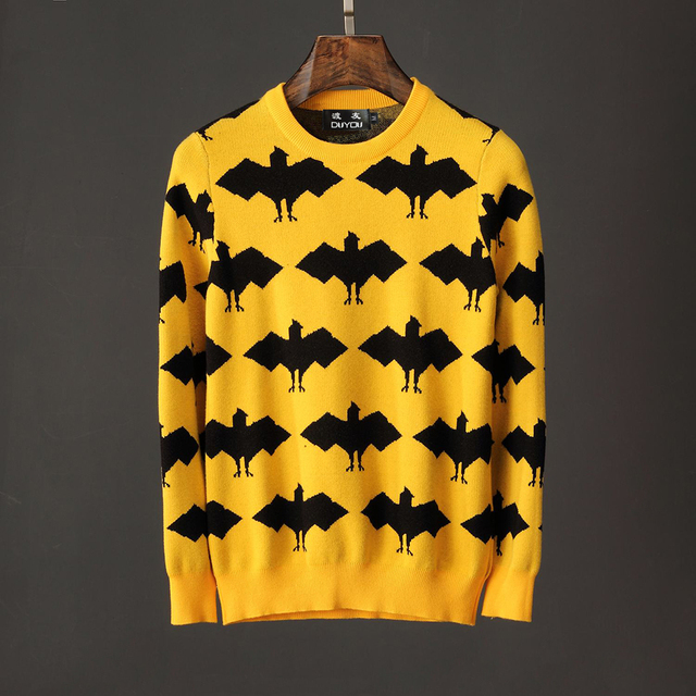 6f48a751b785 Mens &Womens Yellow Black Jacquard Bat Sweater Long Sleeve Wool and  Alpaca-blend Sweater Featuring Rib Knit Crewneck Collar
