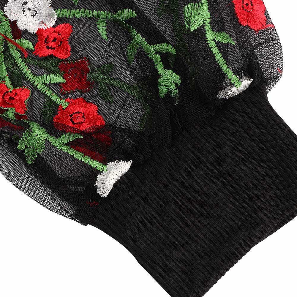 סתיו והחורף סקסי שמלת נשים בוטני רקום רשת שרוול Longline סוודר אלגנטי שחור ארוך שרוול פנס שמלה