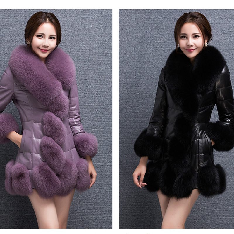 jacket for pregnant Women's jacket  Faux Fur Coat Women PU Leather Coat With Fox Fur Trim Long Windbreaker Jackets Femme Plus faux fur coat