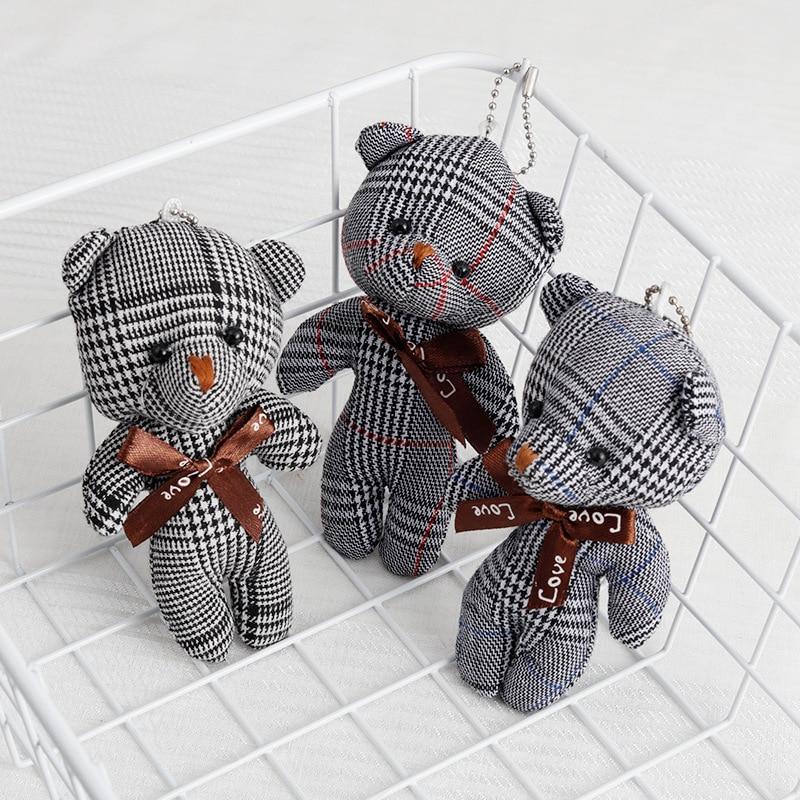 Kawaii Teddy Bear Keychain Plush Toy Stuffed Cute Animal Mini Bear Plush Doll Pendant Bag Accessories Girls Wedding Gifts