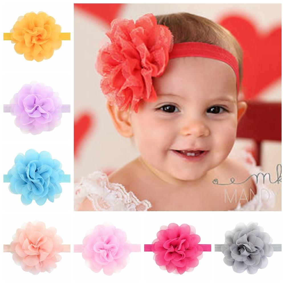 14 PCS Kids Girls Toddler Baby Chiffon Bow Flower Elastic Headband Hair Band