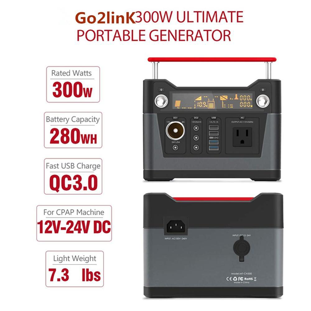 Générateur Portable centrale 280Wh CPAP batterie de secours prise ca QC3.0 USB 12 V/24 V DC lampe de poche LED pour Camping, maison, Emerg