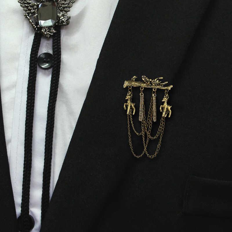 Smalto Spille Capretto Regali Di Natale placcatura D'oro D'argento di Cervo Spille di Modo Retro della lega Ramo Ornamenti delle donne Degli Uomini del vestito di Gioielli