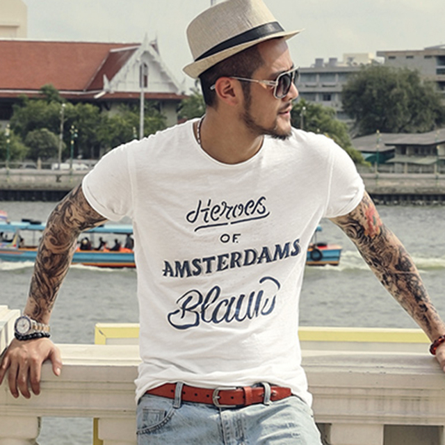 Bamboo Cotton Fashion Printing Letters Men's Casual Short Sleeve T-shirt Men's O Neck Quick Dry Slim European Style T-shirt T503