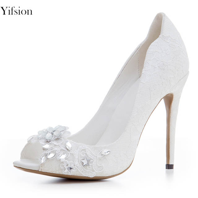 c7b76da97a Yifsion New Women Elegant Pumps Sexy Stiletto High Heels Pumps Charm Peep  Toe Pure White Wedding Shoes Women Plus US Size 3-10.5
