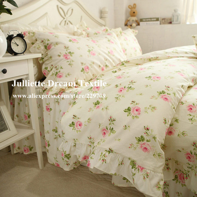 Hot Pastoralen Rose Druck Bettwäsche Set Rüsche Bettbezug Bettlaken