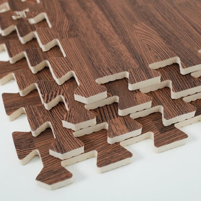 9pcs soft eva foam puzzle crawling mat deep wood interlock floor tiles waterproof rug for kids - Puzzle Wood Flooring