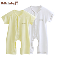 Baby Rompers Newbron Spring Clothing Short Sleeve Button Baby Clothes Cotton Baby Girl Boy Rompers Solid