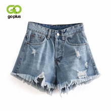 купить GOPLUS 2019 Summer Denim Shorts Women Ripped Buttons Tassel High Waist Vintage Sexy Blue Jean Shorts Women Summer Mini Shorts по цене 1114.97 рублей