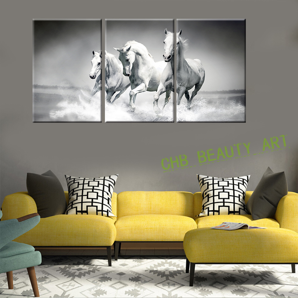 3 piece modern wall art painting canvas white horse sea running prints HD animal picture wall pictures for living room unframed-in Painting u0026 Calligraphy ... & 3 piece modern wall art painting canvas white horse sea running ...