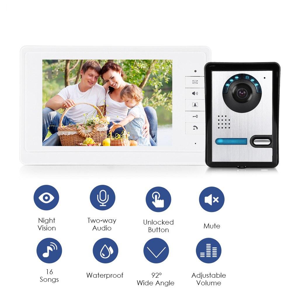 7 Audio Interphone TFT LCD Filaire Vidéo Porte Téléphone Visuel Maison Interphone Vidéo sonnette sonnette avec écran de caméra En Plein Air