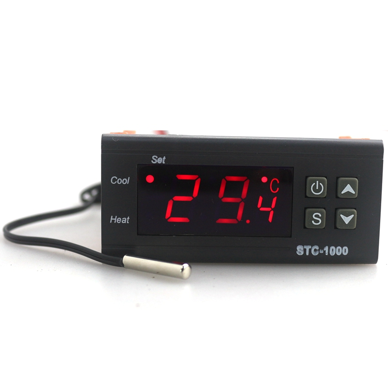 AC110V220V12V24V Digital LCD Temperature Controller STC-1000 with 1m Sensor Thermostat Regulator Heater Cooler Two Relay Output micro intelligent thermostatic switch digital thermostat ac220v temperature controller for heater or cooler max power2200w w2101