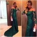 Verde esmeralda encaje sirena fuera del hombro vestido de fiesta con manga larga 2016 recién llegado