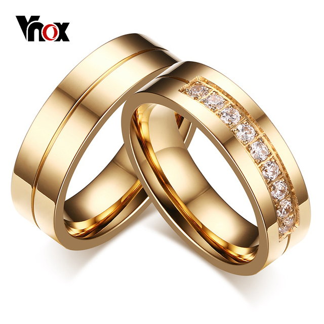 Vnox 1 Pair Wedding Rings for Women Men Couple Promise Band