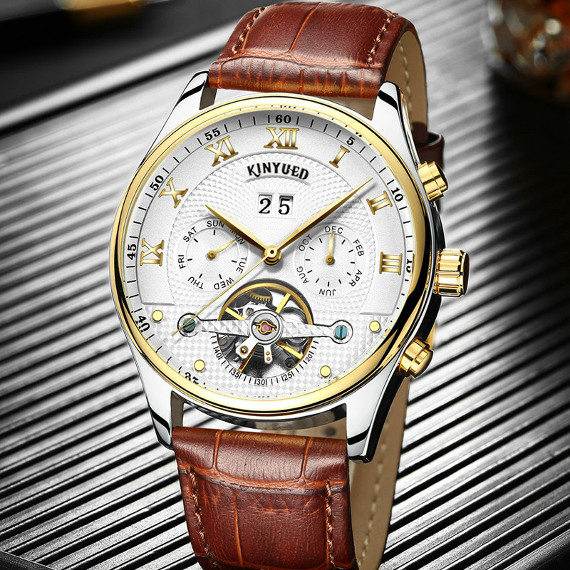 KINYUED Famous Brand Tourbillon Watch Men Leather Fashion Automatic Mechanical Mens Wristwatches Waterproof Relojes Hombre kinyued brand men self wind waterproof stainless steel strap automatic mechanical male black dial fashion tourbillon watch
