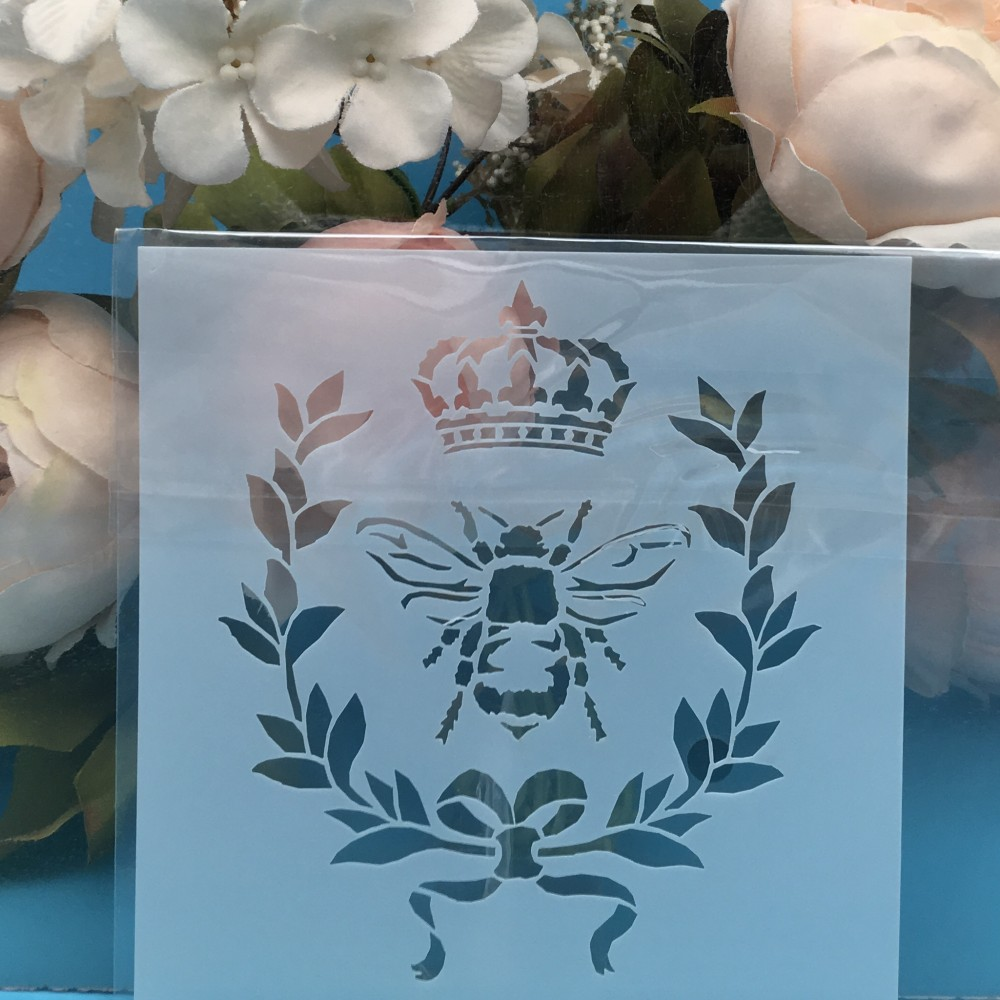 5inch Bee Crown DIY Layering Stencils Wall Painting Scrapbook Coloring Embossing Album Decorative Card Template