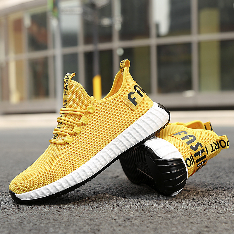 2019 New Men's Flyknit Sneaker Breathable Running Shoes Light Massage Casual Shoe Outdoor Tennis Sportswear Footwear 39 44 Cheap