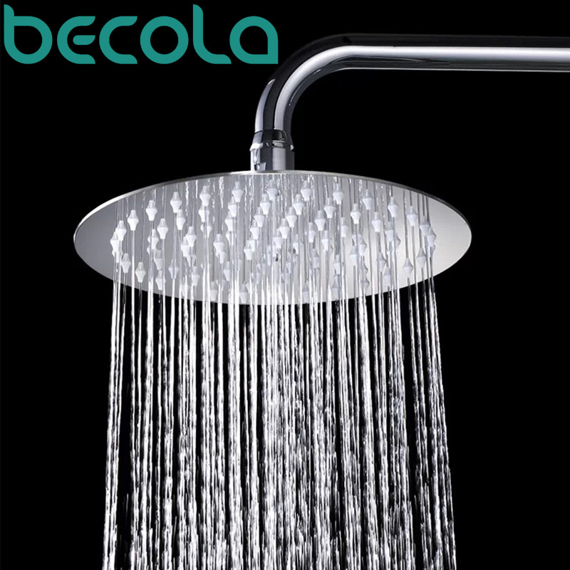 Becola 10 Stainless Steel Shower Head Wall Mounted Ultra Thin Rain Heads With