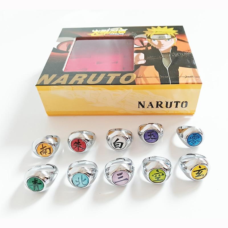 10 pcs/set Anime NARUTO Ring Figure Akatsuki Member Cosplay Matel Model Rings Uchiha Itachi 2cm
